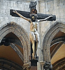 Wooden and painted Crucifix (1st half 14th century) - San Lorenzo Maggiore Church in Naples (Carlo Raso) Tags: crucifix naples italy woodensculpture