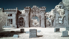 The Gatehouse (IR) (Thomas James Caldwell) Tags: abstract abandoned philadelphia halloween cemetery ir october gate mt pennsylvania decay eerie stephen creepy spooky mount pa button decatur infrared atmospheric gatehouse moriah hiddencityphilly