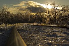 Ice on the Tracks (kirk.robinson) Tags: winter sunset canada ice train canon 50mm tracks t3i 2014