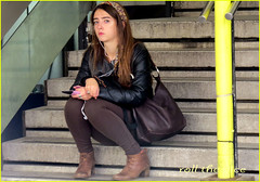 `1213 (roll the dice) Tags: uk travel portrait england people urban music sexy london art classic westminster fashion shopping happy funny pretty sad natural boots camden candid seat soho transport steps streetphotography stranger unknown brunette mad w1 westend tottenhamcourtroad unaware londonist crossrail