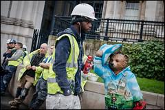 Paddington (jonron239) Tags: bear boy man london workmen expression cigarette helmet nationalgallery paddington smoker rollup decorator geezers