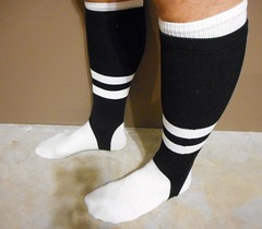 NFL football official's stirrup socks. (Football Officials Referee Uniforms) Tags: 2 white black classic socks vintage football clothing athletic referee official sock uniform nfl stripe clothes sanitary national 80s 70s league stirrup officials