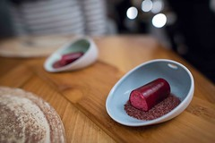 Beetroot, eel and blackberry served with decorative powder (FoodTy [food-tee]) Tags: paris france europe frenchcuisine davidtoutain restaurantdavidtoutain