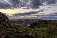 Dusk from the Crags (MilesGrayPhotography (AnimalsBeforeHumans)) Tags: old city uk autumn sunset sky castle skyline architecture canon landscape photography eos volcano scotland town edinburgh cityscape britain dusk scenic sigma crags auldreekie nighfall hsm sigma1770mm canoneos70d canon70d