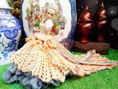 Quicksilver KYORI (Natalie Janne) Tags: china fashion hair asian toys beads eyes asia dress princess ooak crochet chinese cream peach quicksilver crown smoky gown platinum royalty diorama integrity kyori