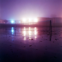 Tennis (Daniel Regner) Tags: camera new old light sky mist 120 6x6 mamiya tlr film wet water rain misty fog night analog vintage court dark square lens photography freedom coast reflex october long exposure fuji cloudy pennsylvania daniel release tripod foggy twin stormy cable super east iso pa tennis rainy midnight fujifilm medium format 1991 asa expired f28 hg 30sec c33 2014 80mm fujicolor sekor regner 400a