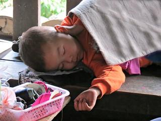 sleeping child on the bridge