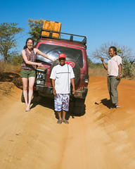 Laura and Claudia applaud Rivu for his good driving on these bad roads!