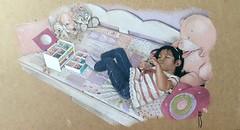 Andrea tumbada en la cama (rafanav) Tags: portrait color art pencil kid navarro crayon rafa