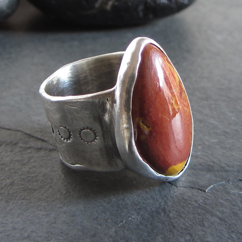 Sterling silver mookaite ring