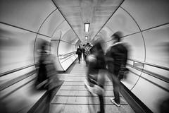 Rushing in the London underground (Michael Echteld) Tags: blackandwhite bw london blurred motionblur rushing sonya700 michaelechteld