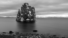 It came from Outer Space ... ;) (lunaryuna) Tags: longexposure bw panorama seascape monochrome beauty rock landscape coast blackwhite iceland ngc textures le legends fjord monolith lunaryuna seastack hvitserkur northwesticeland petrifiedtroll