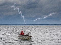 What Now ?! (dietmar-schwanitz) Tags: water rain clouds germany deutschland boot boat fisherman wasser wolken regen fischer lightroom photoshopelements mecklenburgvorpommern mritz natureart waren dietmarschwanitz nikond750 nikonafsnikkor24120mmf40ged