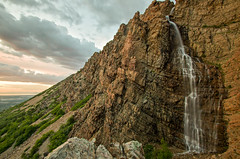 malans-falls-sunset (photodavem) Tags: mountains waterfall wasatch falls ogden malans