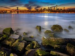 A Big Apple Sunset (ADW44) Tags: nyc longexposure newyork water skyline architecture river rocks east longislandcity nycskyline thebigapple fortbelvoir