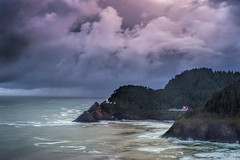 Lighthouse over the Rugged Coast (Vision & Light Photo) Tags: ocean light sea lighthouse house seascape storm color nature clouds oregon landscape outdoors photography photo waves hills pacificocean photograph pacificnorthwest beacon cloudscape stormclouds fineartphotography heceta hecetaheadlighthouse fineartphoto hecetalighthouse fineartphotograph