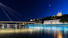 Blue Hour in Lyon (Njones03) Tags: 2016 lyon moon night nightscap river bluehour