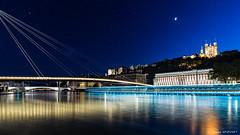 Blue Hour in Lyon (Njones03) Tags: moon night river lyon bluehour 2016 nightscap