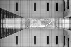 open air (Blende1.8) Tags: kranhuser kranhaus architecture architektur modern contemporary kln cologne deutschland germany nrw mono monochrome monochrom schwarzweis black white symmetry symmetrie grafik grafisch fuji fujifilm fujinon xt1 1024mm xf1024mm geometrie geometry modernearchitektur urban glas glass