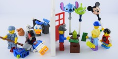 Balloon horror (Alex THELEGOFAN) Tags: lego disney minifigure collectible donald stitch pizza planet alien killer money cash trash can janitor mickey mouse kid
