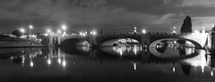 when the stars come out at night (lunaryuna) Tags: hamptoncourt england surrey riverthames hamptoncourtbridge bridge architecture arches nightlights nughtphotography nocturnalphotography river reflections seeingdouble mirrorworlds bridgelights beauty design urbanlandscape panorama panoramicviews summer season seasonalwonders lunaryuna le longexposure blackwhite bw monochrome