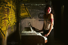 Another Glass Citizen (lunahzon) Tags: alchemyinimagery sarahcorkill abandonedcathedral piano dust decay postapocalytpic graffiti warpaint haunting highart dramatic