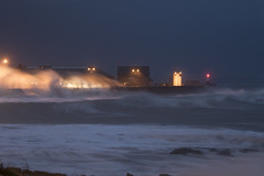 Streetlights, storms and sea (Chris M Lawrence) Tags: porthcawl storm waves weather sea surf ocean lighthouse breakwater night