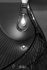 Light bulb staircase (Callegher Marco - The beauty in my eyes) Tags: bw black white blackwhite staircase scala caf orient kubism cubismo praga bulb light lampadina cech