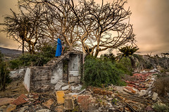 Evening at the Palace (Tazmanic) Tags: sky tree stormy destruction steps stairs blue dress girlwoman relic ancient