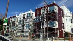 Changing Berkeley (Melinda Stuart) Tags: apartmentbuilding multipledwelling contemporary modern panels scaffold berkeley ca eastbay powerpoles electric poles wires