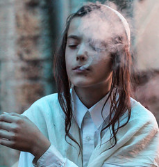 Smoke Gets in Your Eyes (ybiberman) Tags: israel jerusalem meahshearim boy payot kippah smoking smoke portrait candid streetphotography