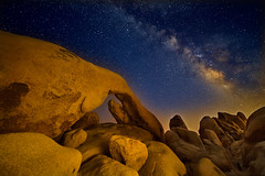 Swan and Eagle Rising (David Shield Photography) Tags: archrock joshuatree nationalpark california desert landscape milkyway nightphotography sky stars color light nikon explore explored