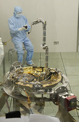 Beagle-2-and- technician (The Open University (OU)) Tags: england people beagle experiments university miltonkeynes science study research ou labs technicians laboratories innovative theopenuniversity