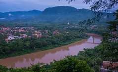 DSC00161.jpg (Vaajis) Tags: sunset river temple asia view buddhism laos mekong luangprabang cloudymountains