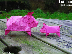 Listen me (Dollar Bill Pig) - Barth Dunkan (Magic Fingaz) Tags: pig piglet schwein porc cerdo origamipig origamicochon