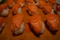 Salmon Sushi (jjldickinson) Tags: nikond3300 101d3300 nikon1855mmf3556gvriiafsdxnikkor promaster52mmdigitalhdprotectionfilter wrigley japanese food dinner cooking newyearsday meat fish sashimi seafood sushi salmon sake rice longbeach