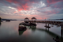 Burning sky (My Pixel Palette) Tags: trees seascape clouds landscape fire rocks jetty bridges oldjetty pulauubin ubin fieryclouds burningclouds