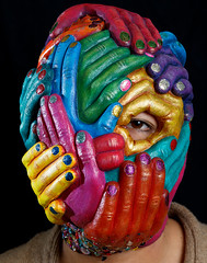 Over the head mask (laura-villegas) Tags: hands colorful mask head over manos latex mascara