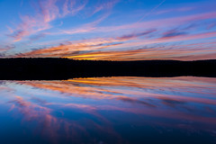 Catching Fire (Minhl84) Tags: ri blue autumn light sunset sky cloud sun reflection fall nature water clouds landscape pond nikon dusk horizon rhodeisland 500v50f zen cirrus 2470mm cirrusclouds 2470 d700 simplysuperb 2470mmf28g nikon2470