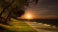 The Path to the Moon (Kristin Repsher) Tags: longexposure night stars nikon df australia fullmoon moonrise queensland redcliffe moretonbay woodypoint southeastqueensland