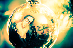 hello (Ben McLeod) Tags: reflection me globe crossprocess christmastree christmaslights