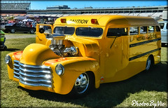 Hot Rod High School (Photos By Vic) Tags: old classic chevrolet yellow vintage antique chevy hotrod vehicle schoolbus custom carshow