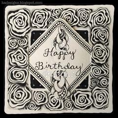 Zentangle® Inspired Art : Happy Birthday (ha! designs) Tags: blackandwhite abstract art illustration tile drawing bijou doodle frame tangle graphite rockandroll penandink 2014 divadance zentangle hadesigns punzel zentangleinspiredart hadesignszentangle