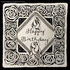 Zentangle® Inspired Art : Happy Birthday (ha! designs) Tags: blackandwhite abstract art illustration tile drawing bijou doodle frame tangle graphite rockandroll penandink 2014 divadance zentangle hadesigns punzel zentangleinspiredart hadesignszentangle