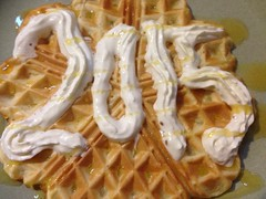 Happy new year! (Ginni B) Tags: new friends party up breakfast happy golden fry iron yum sweet tate year cream plate delicious eggs syrup flour waffles waffle fryup lyle 2015 squirty