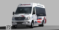 Mercedes Sprinter Britannia Coaches minibus (paperscan) Tags: shuttle delivery commuter daimler minibus britannia 3500 sprinter freightliner 2015 cargovan airportservice highroof passegercab