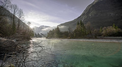 Glory morning, Soca river, Tolmin, Slovenia (Iztok Alf Kurnik) Tags: travel trees winter panorama sun tourism nature water fog forest river landscape geotagged holidays europe day shine postcard foggy tourist panoramic slovenia lonelyplanet wintertime tolmin soca nationalgeographic lans globetrekker naturelover travelguide natureart panoramicview travelphotography soa landscapephotography panoramicphotography socariver traveltheworld naturebeauty tripadvisor landscapeview naturewallpaper naturepostcard foggyforest soariver soavalley volarje ifeelslovenia postcardphotography travelslovenia showinmyeyes fotobyiztokkurnik