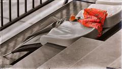 Paraguas en la grada (candi...) Tags: cutout escalera paraguas asientos deportivo pabelln grada sonya77