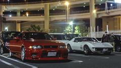 East Meets West (Justin Young Photography) Tags: cars chevrolet japan skyline nissan stingray yokohama r33 corvette gtr c3 daikokufuto bnr33 daikokupa