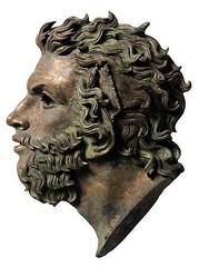 Ancient Rome. Boreas (the purple-winged god of north-wind), Roman bronze, 1st century CE (mike catalonian) Tags: portrait sculpture male bronze head ancientrome boreas 1stcenturyce